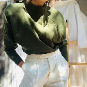 VINTAGE// Gorgeous Olive Green Blouse: